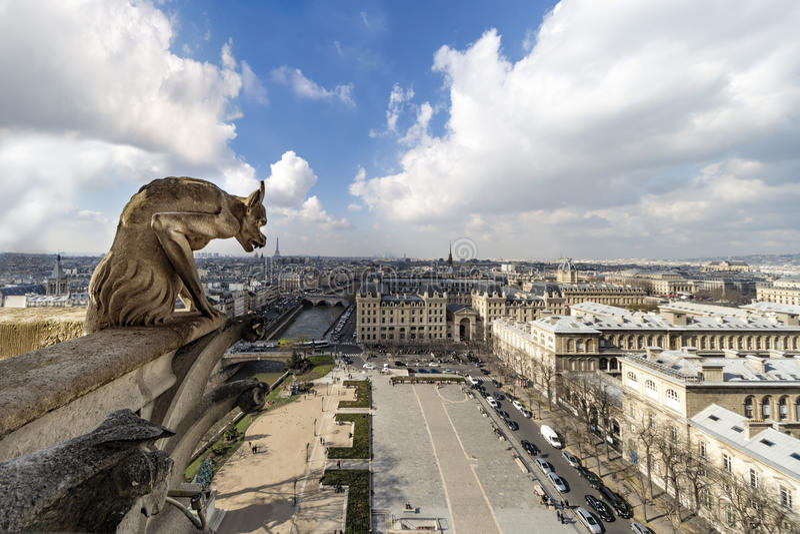 Notre Dame de Paris Chimera royaltyfri bild