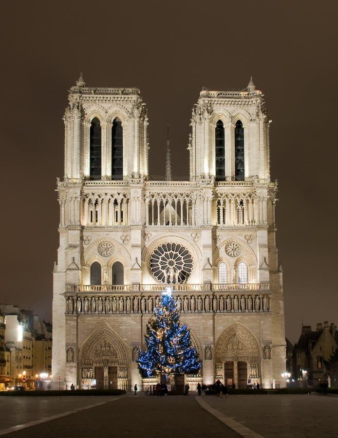 Notre Dame de Paris before Cristmas stock images