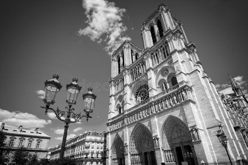 Notre Dame De Paris czarny i biały, Francja fotografia stock