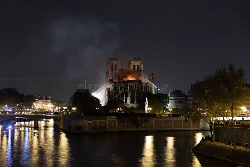 Notre dame de paris fire April 2019 royalty free stock photography