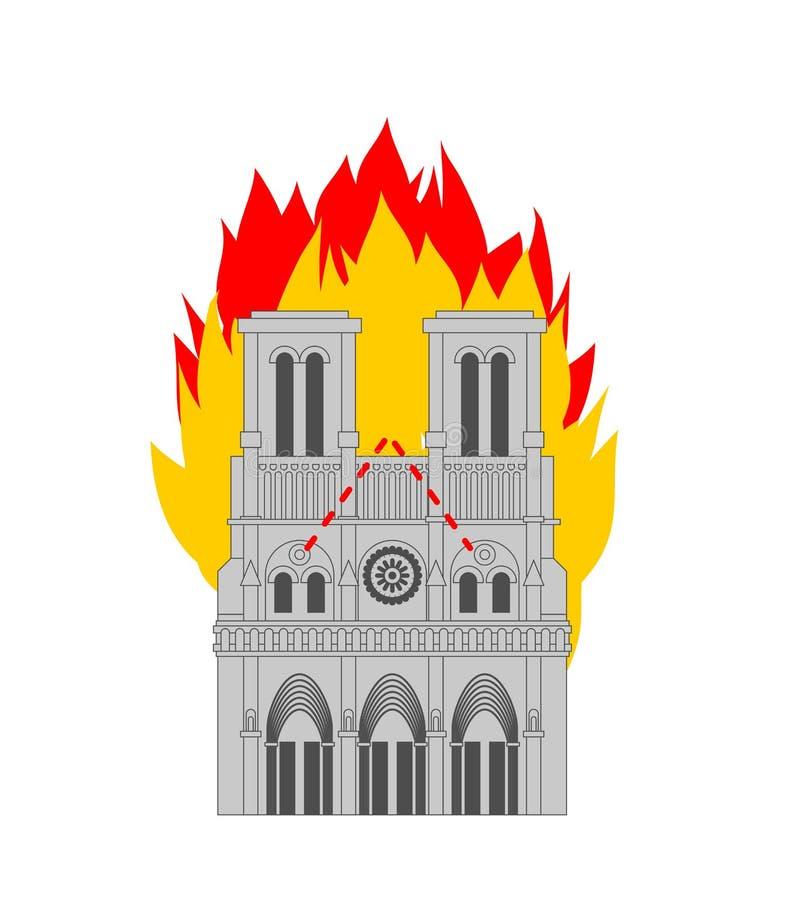 Notre Dame de Paris Fire Brandend dak van de historische bouw in Frankrijk housetop vlam stock illustratie