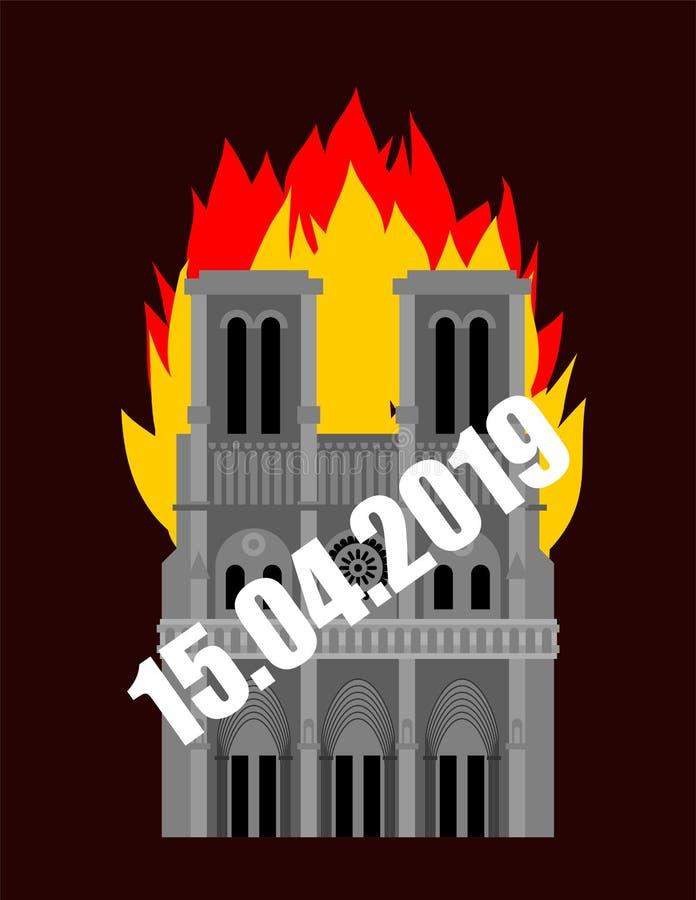 Notre Dame de Paris Fire Brandend dak van de historische bouw in Frankrijk housetop vlam royalty-vrije illustratie