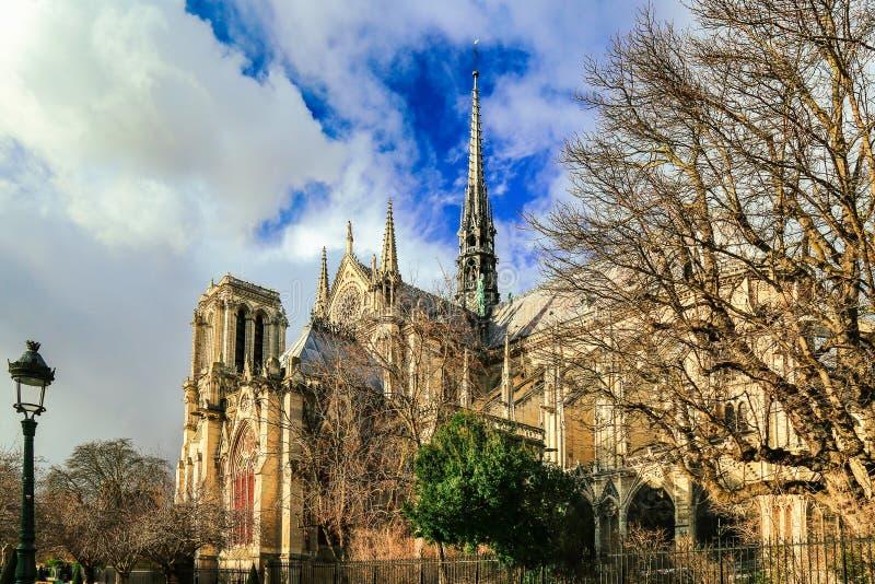 Notre Dame De Paris, France Cathédrale gothique photo libre de droits