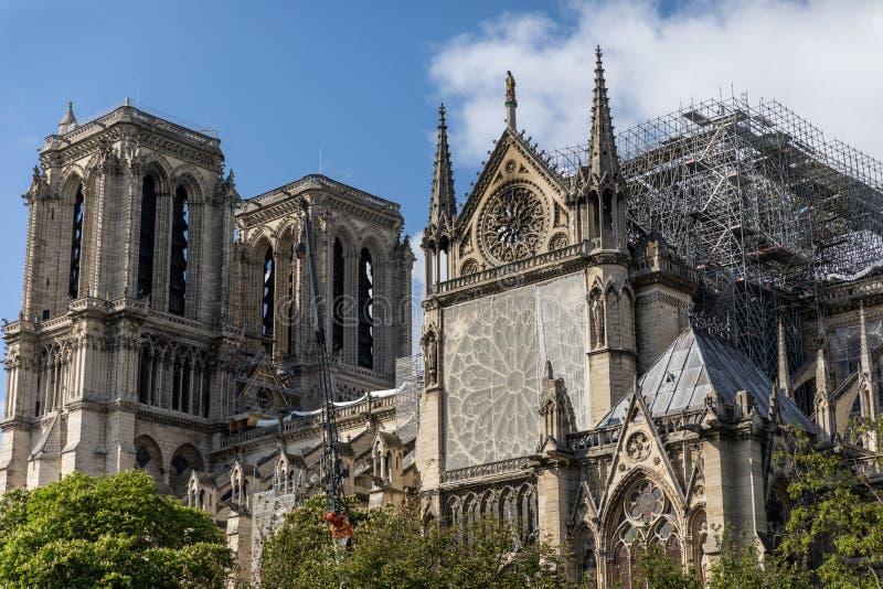 Notre Dame De Paris, Francja po ogienia zdjęcie stock