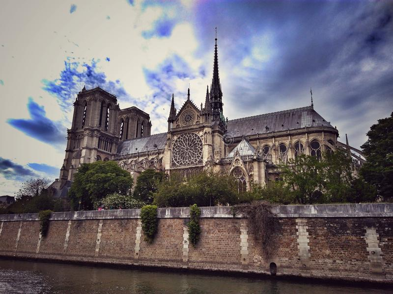 Notre-Dame de Paris. Full from river side royalty free stock photos