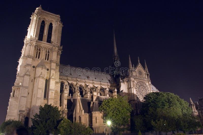 Notre-Dame de Paris iluminado. París. Francia foto de archivo libre de regalías