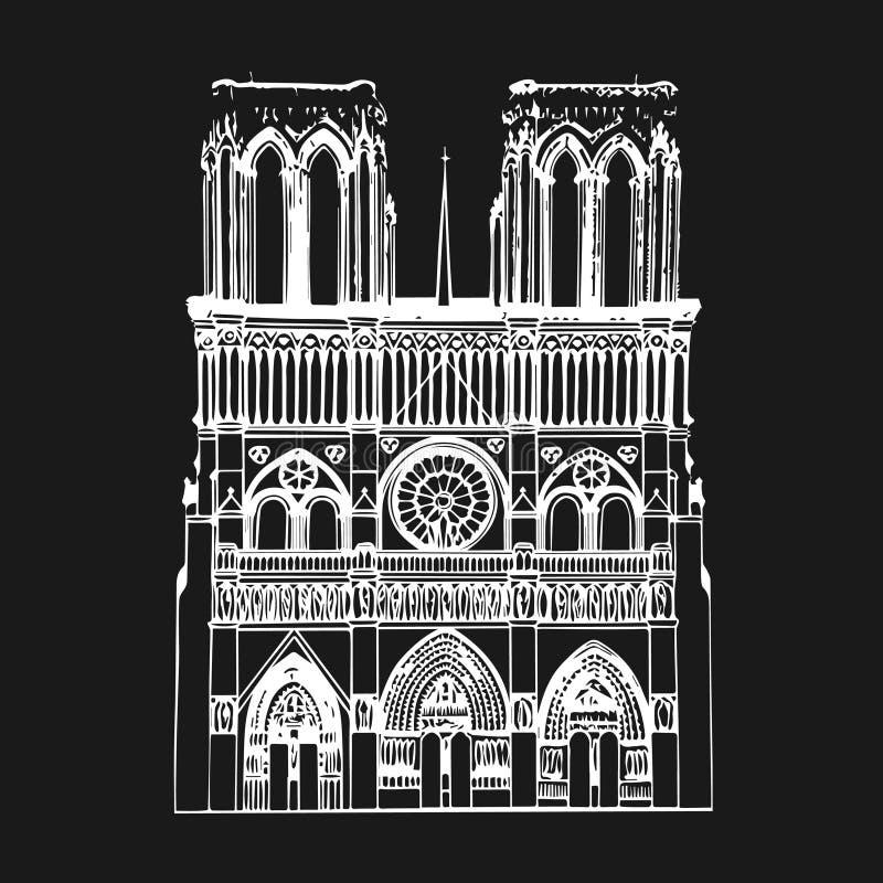 Notre Dame De Paris katedra, Francja również zwrócić corel ilustracji wektora ilustracji