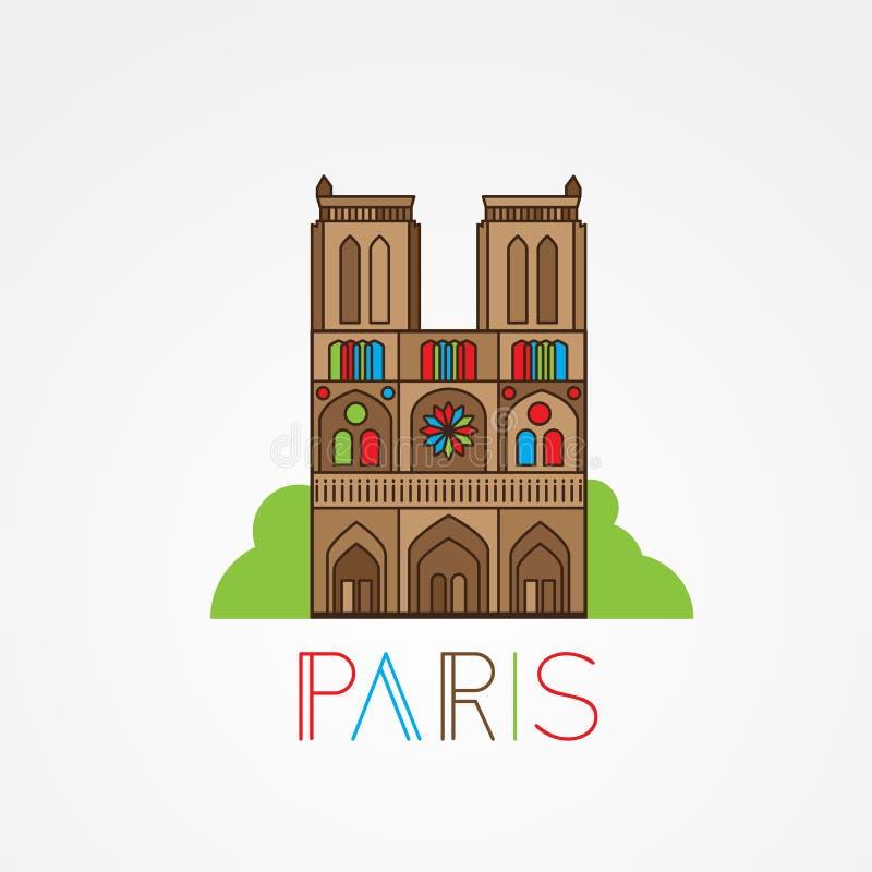 Notre Dame De Paris katedra, Francja Ręka rysunku nakreślenia wektorowa ilustracja francuski podróż punkt zwrotny ilustracja wektor
