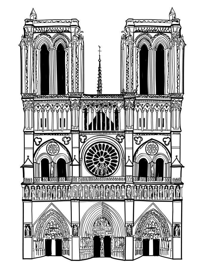 Notre Dame De Paris katedra. Odosobniona podróży etykietka royalty ilustracja