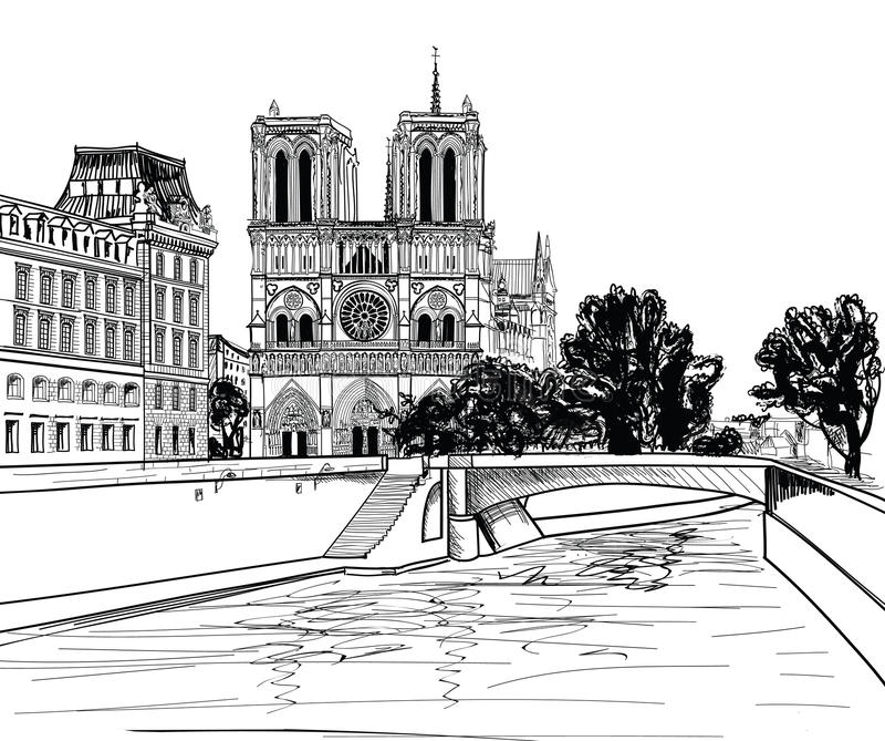 Notre Dame De Paris katedra. Pejzażu miejskiego staromodny tło z wonton rzeką, most. Paryż, Ile De Los angeles Cytujący. ilustracji