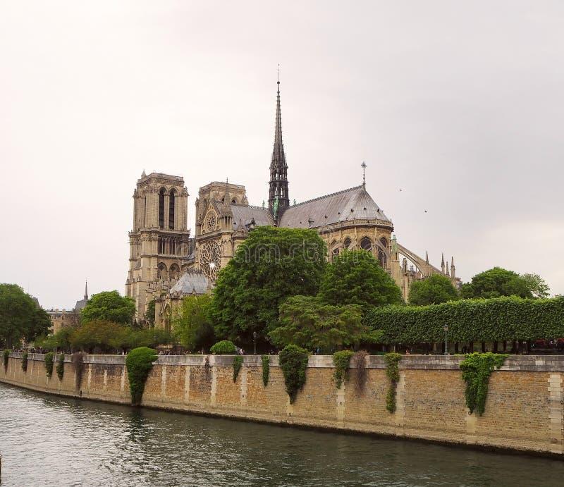Notre Dame De Paris katedra, piękna katedra w Paryż Widok od Rzecznego wontonu, Paryż, Francja zdjęcie royalty free