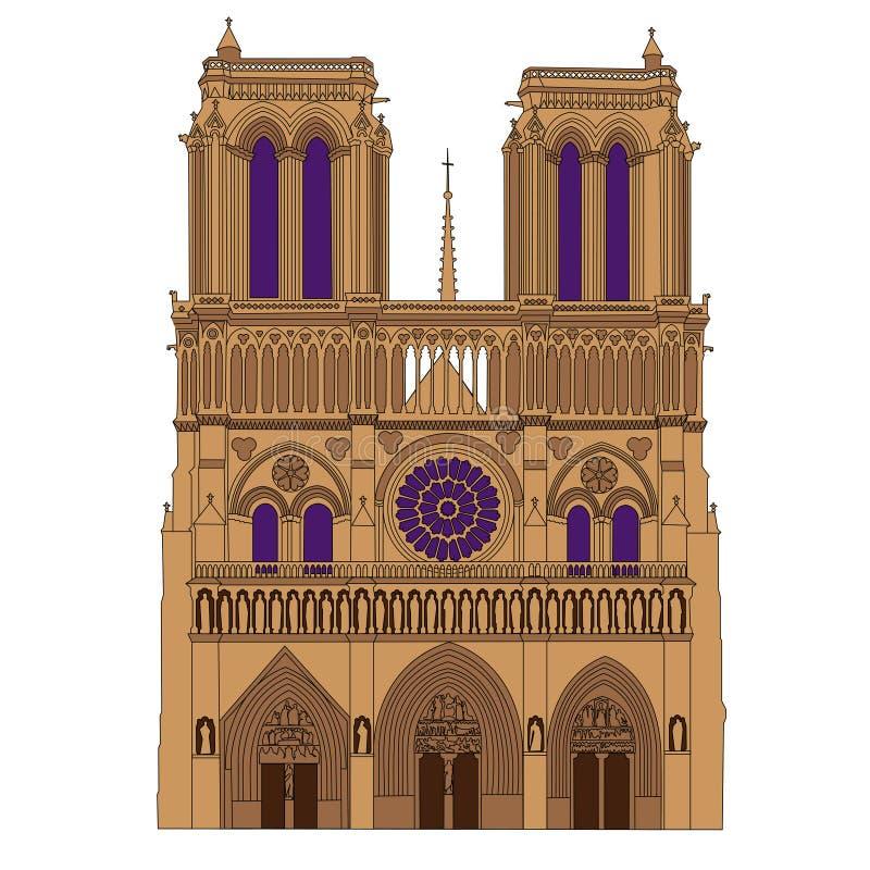 Notre Dame De Paris katedry ilustracja royalty ilustracja