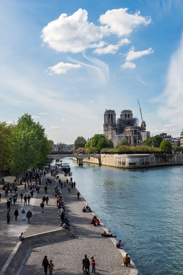 Notre Dame de Paris le 17 avril 2019 : Apr?s le feu images libres de droits