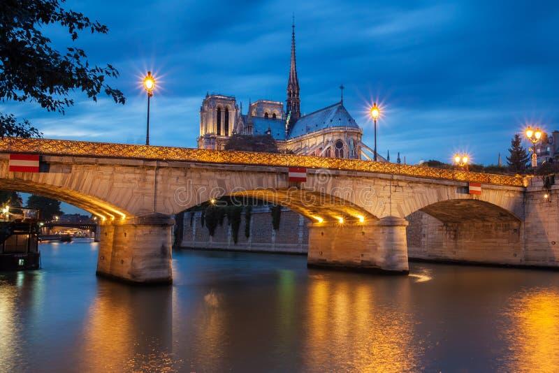 Notre Dame de Paris på solnedgången royaltyfria foton