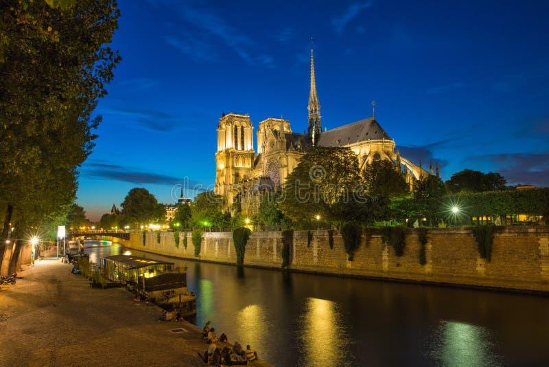Notre Dame de Paris par nuit photographie stock
