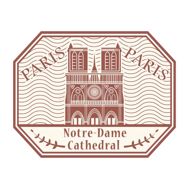 Notre-Dame de Paris, Paryż znaczek royalty ilustracja