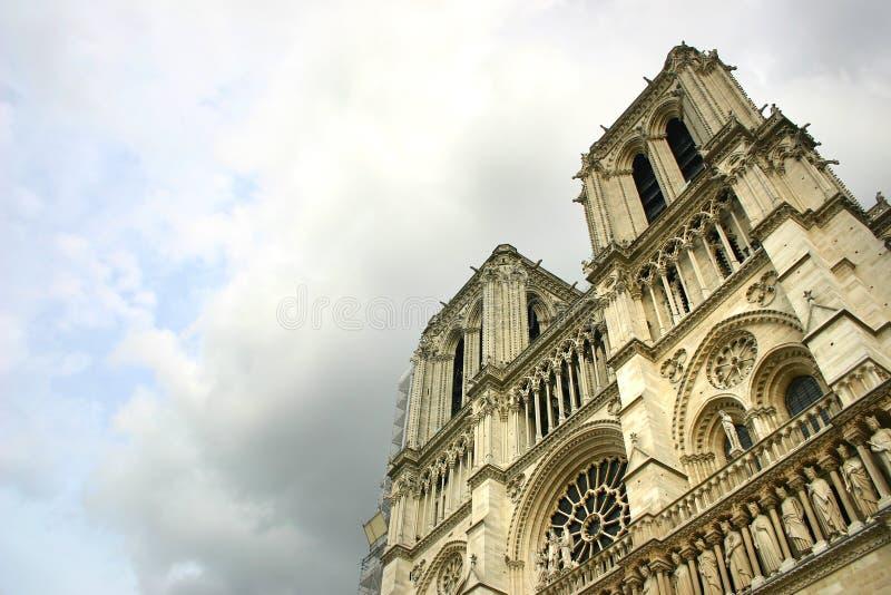 Notre Dame de Paris after the storm stock photo