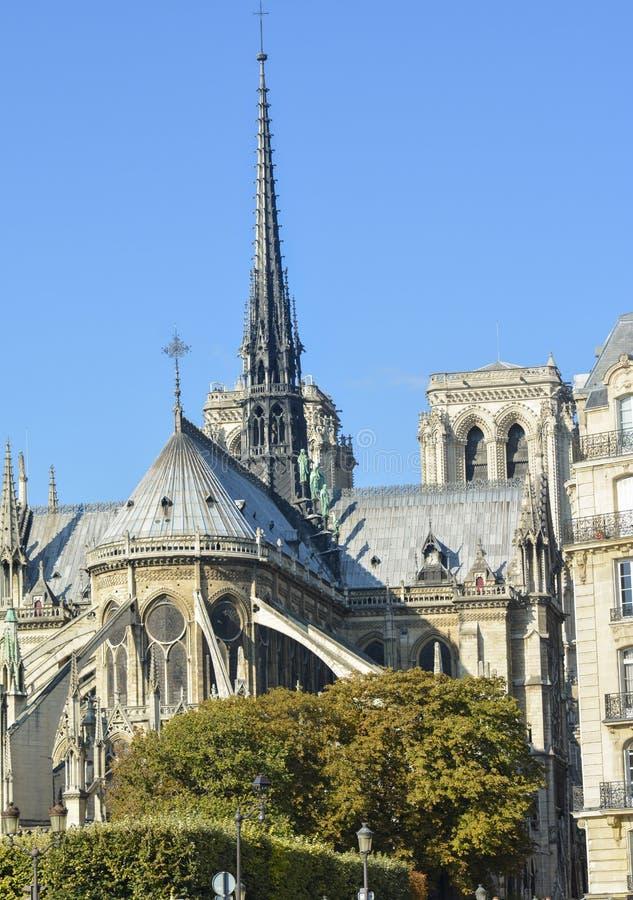 Notre-Dame de Paris vår dam av Paris Famouse den katolska domkyrkan i Paris royaltyfria foton