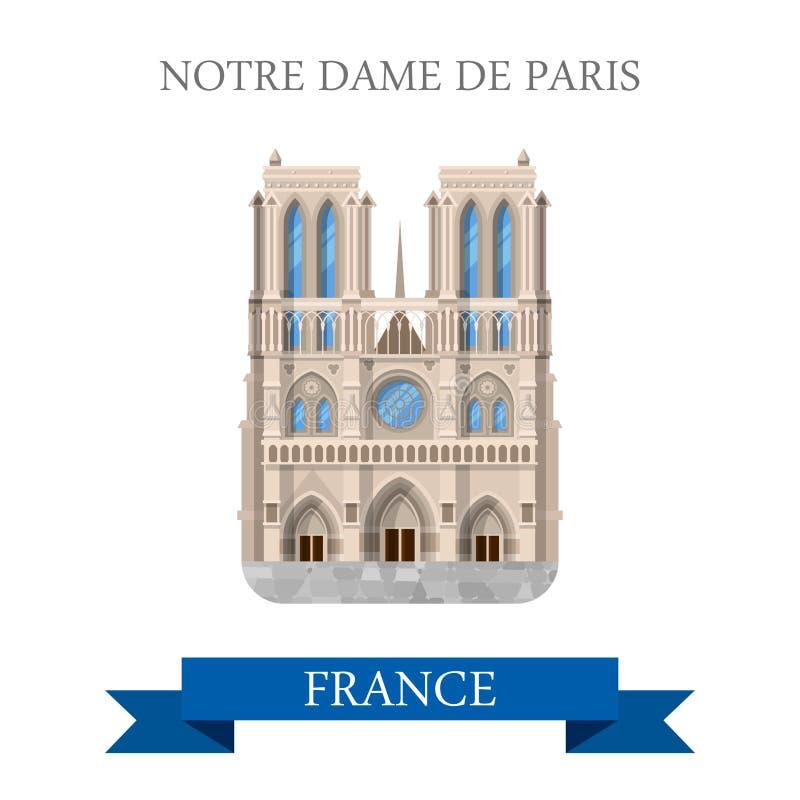 Notre Dame De Paris w Francja przyciągania płaskich wektorowych punktach zwrotnych royalty ilustracja