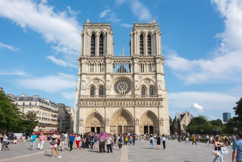 Notre-Dame de Parisdomkyrka, Frankrike arkivbilder
