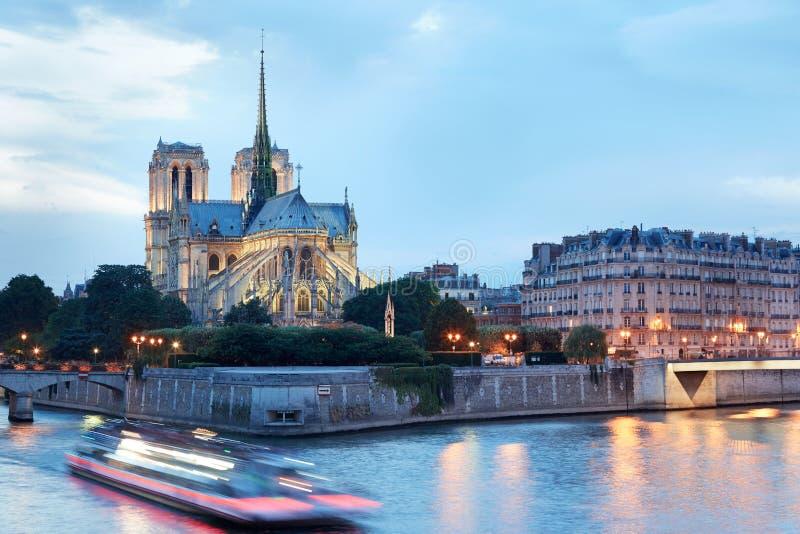 Notre Dame de Pariskathedrale nachts stockfotos