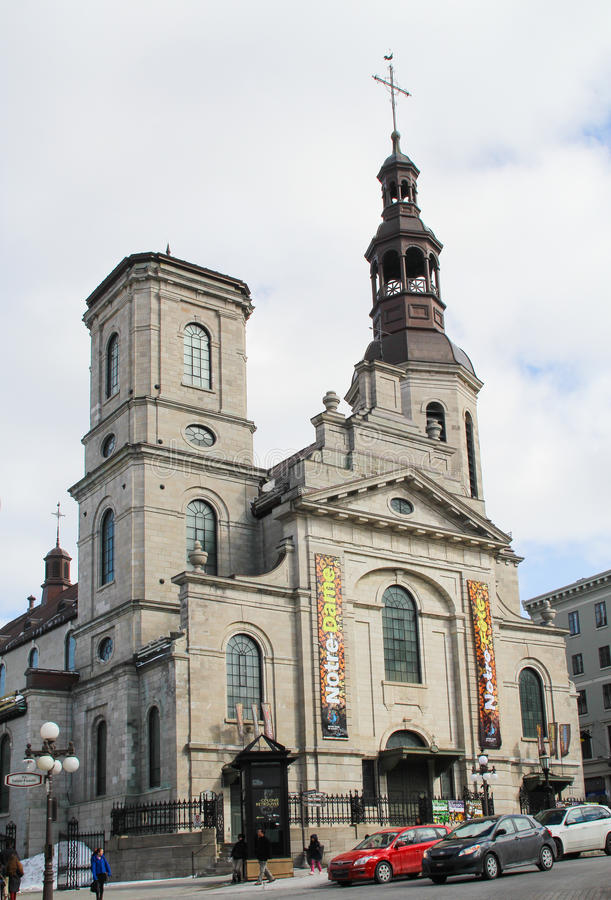 Notre-Dame de Quebec Basilica-Cathedral in old Quebec city stock photo