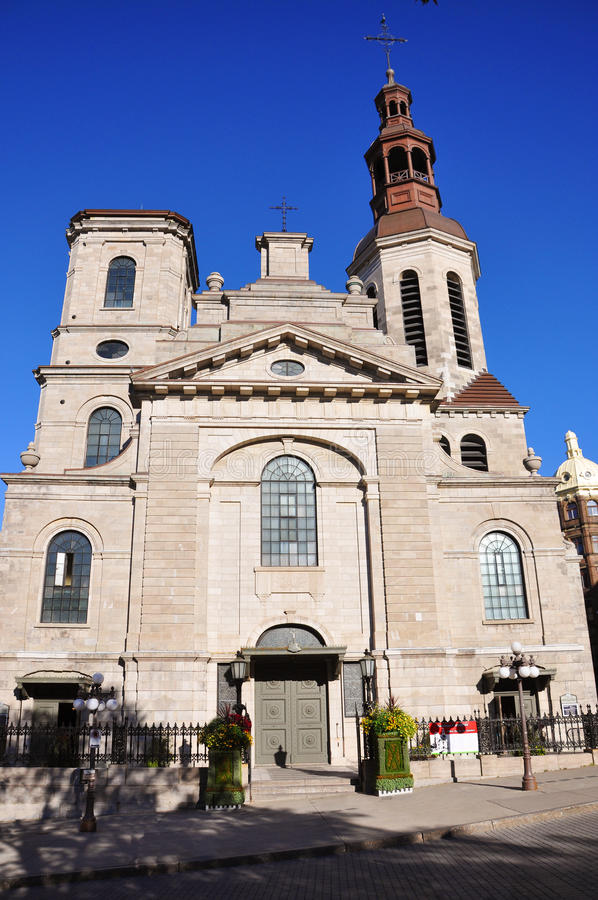 Notre-Dame de Quebec Cathedral stock photo