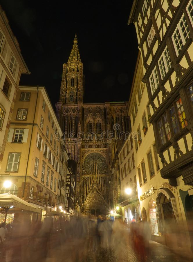 Notre-Dame de Strasbourg cathedral by night stock photography
