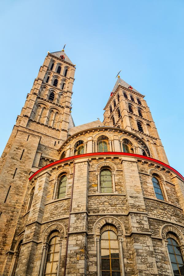 Notre-Dame de Tournai towers, Cathedral of Our Lady, Tournai, Walloon municipality, Belgium. Dornick, architectural, architecture, belgian, belgique, benelux stock photography