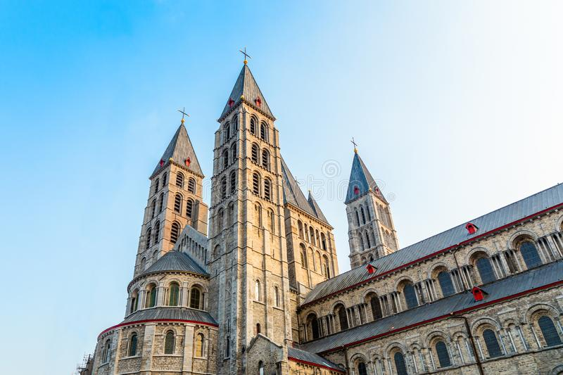 Notre-Dame de Tournai towers, Cathedral of Our Lady, Tournai, Walloon municipality, Belgium. Dornick, architectural, architecture, belgian, belgique, benelux stock image