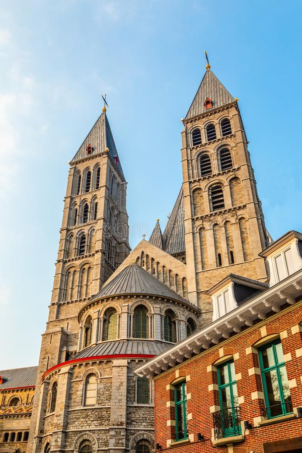 Notre-Dame de Tournai towers, Cathedral of Our Lady, Tournai, Walloon municipality, Belgium. Dornick, architectural, architecture, belgian, belgique, benelux royalty free stock photos