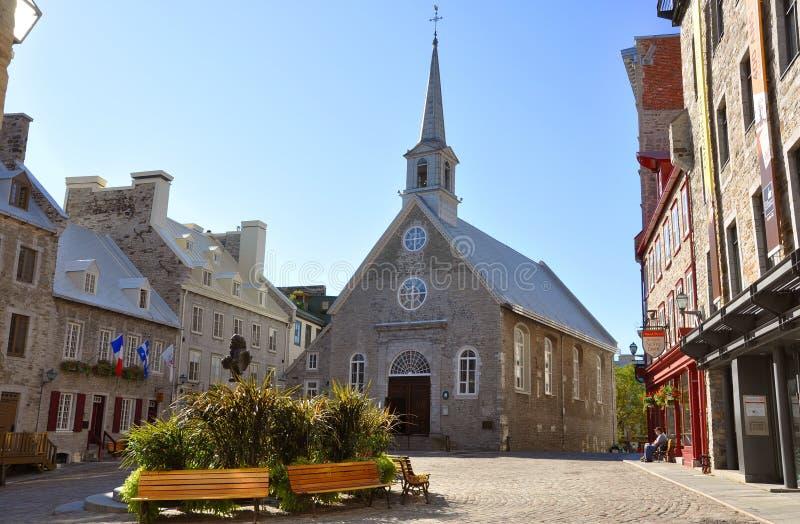 Notre-Dame-des-Victoires, Quebec City stock photo