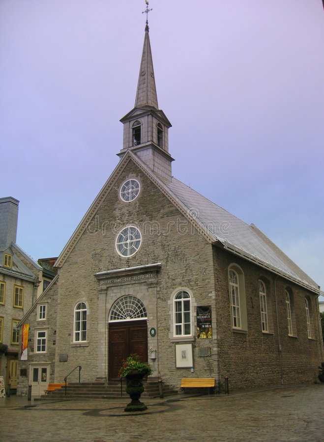 Notre-dame-des-victoires church in old Quebec royalty free stock photos