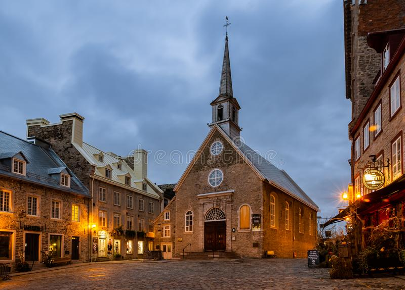 Notre-Dame-des-Victoires Church in Old Quebec city, Canada stock photography