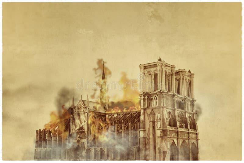 Notre Dame domkyrka vektor illustrationer