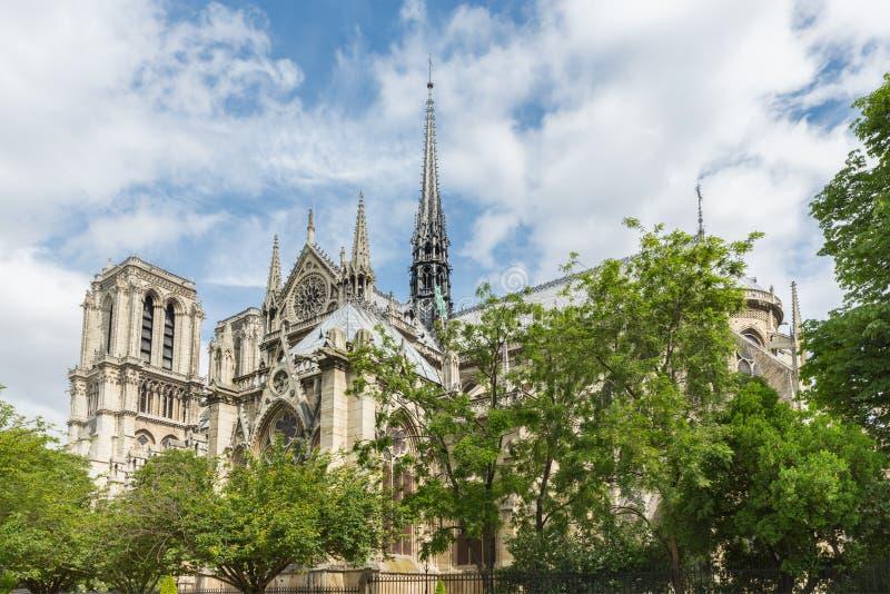 Notre Dame domkyrka i vår, Paris Frankrike arkivbilder