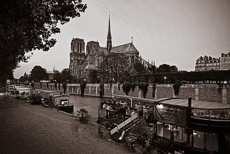 Notre Dame domkyrka på solnedgången i Paris, Frankrike fotografering för bildbyråer