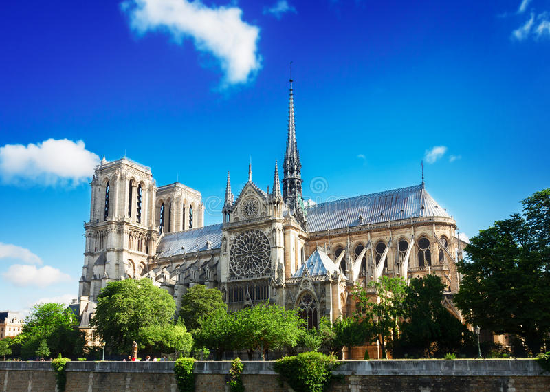 Notre Dame domkyrka, Paris Frankrike arkivfoto