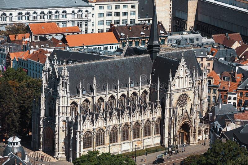 Notre Dame du萨布隆的Cathedral在布鲁塞尔 免版税库存照片