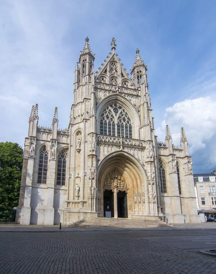 Notre Dame du Sablon教会在布鲁塞尔,比利时 免版税库存图片