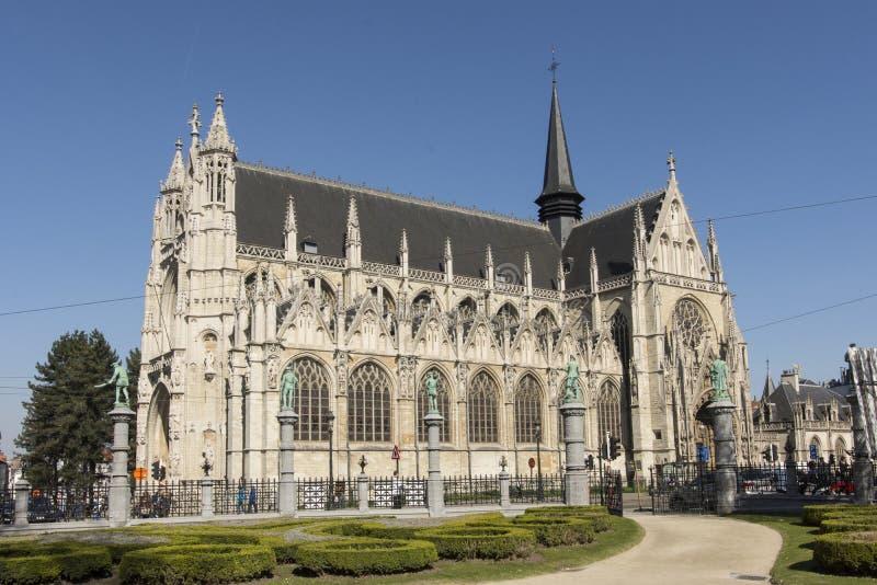 Notre Dame du Sablon Cathedral在布鲁塞尔 图库摄影