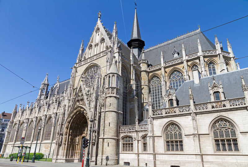 Notre Dame du sablon em Bruxelas foto de stock royalty free