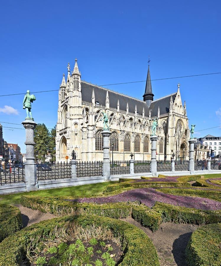 Notre Dame du Sablon ` s大教堂在布鲁塞尔,比利时2018年 库存图片