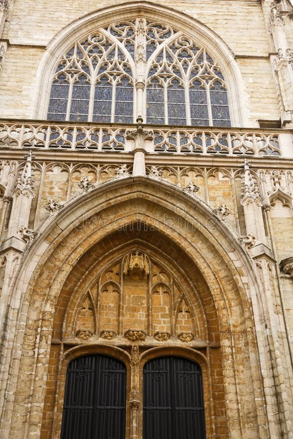Notre Dame du Sablon ` s大教堂 免版税库存照片