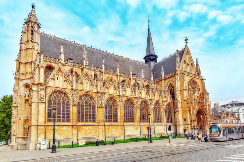 Notre Dame du Sablon`s Cathedral in Brussels, Belgium and the E stock photos