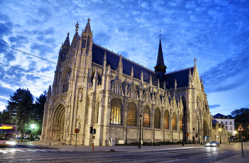 Notre Dame du Sablon's Cathedral royalty free stock photography