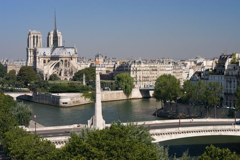 Notre Dame en Pont DE La Tourelle Parijs royalty-vrije stock afbeeldingen