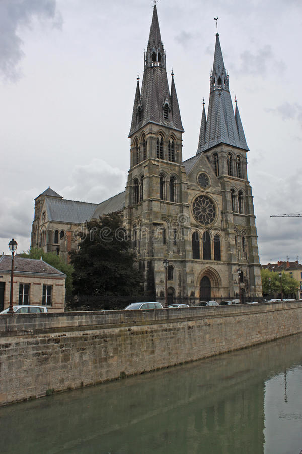 Notre-Dame-en-Vaux church, Chalons-en-Champagne, France. Twin spires of Notre-Dame-en-Vaux church, Chalons-en-Champagne, France royalty free stock photography