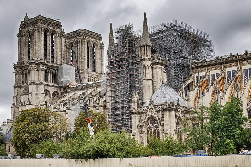 Notre Dame After The Fire stock images