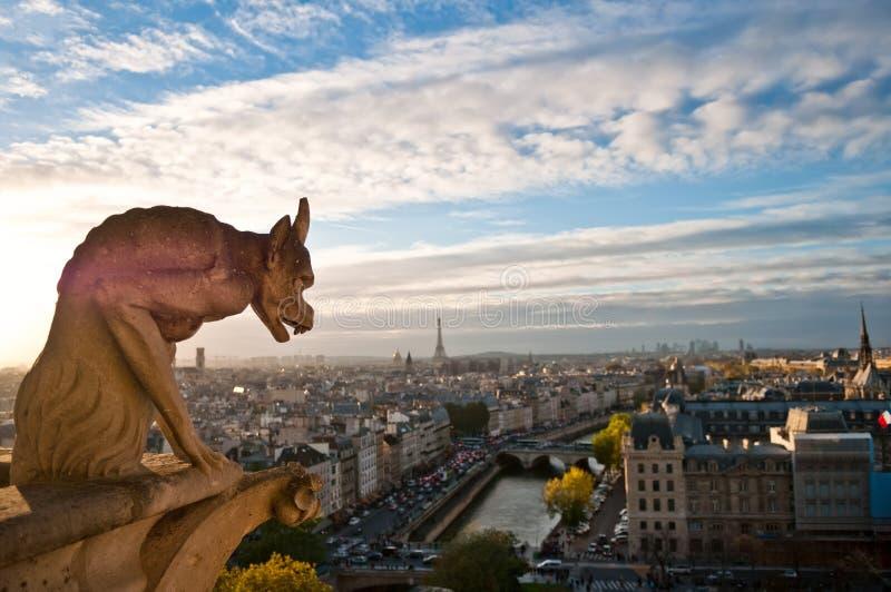 Notre Dame: Gargoyle que pasa por alto París imagenes de archivo